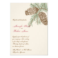 Pine Cone Nature on Cream Wedding Invitation