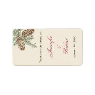Pine Cone Nature on Cream Wedding Lip Balm Sticker