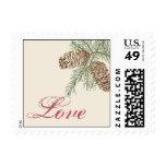 Pine Cone Nature on Cream Wedding Love Postage