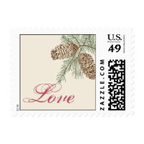 Pine Cone Nature on Cream Wedding Love Postage