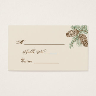 Pine Cone Nature on Cream Wedding Place Card