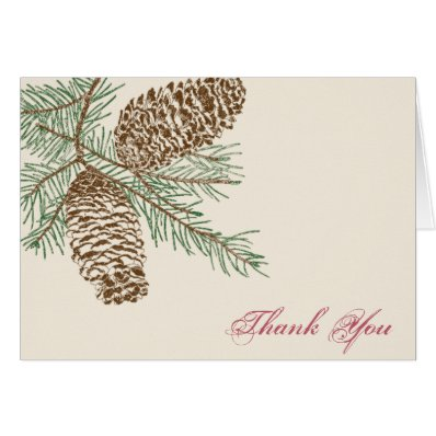 Pine Cone Nature on Cream Wedding Thank You card