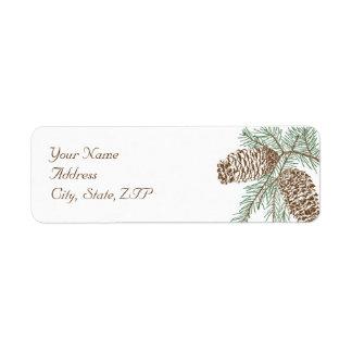 Pine Cone Nature on White Wedding Return Address Return Address Label