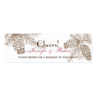 Pine Cone Nature Wedding Drink Tickets Double-Sided Mini Business Cards (Pack Of 20)