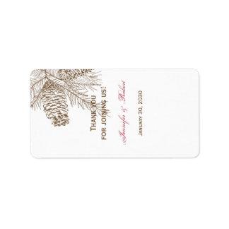 Pine Cone Nature Wedding Lip Balm Label