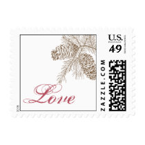 Pine Cone Nature Wedding Love Postage