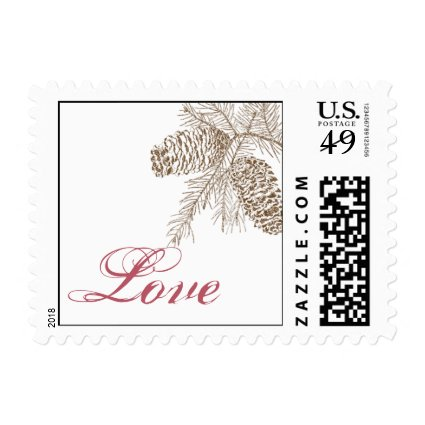 Pine Cone Nature Wedding Love Postage