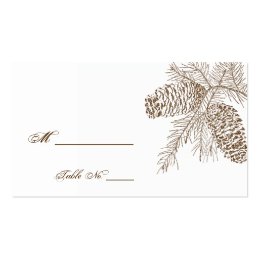 Pine Cone Nature Wedding Place Cards Business Card Templates