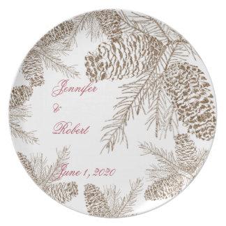Pine Cone Nature Wedding Plates
