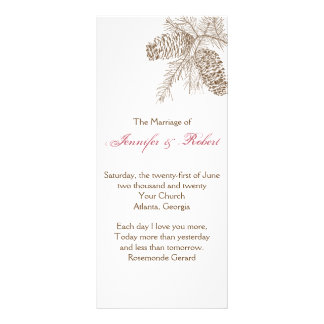 Pine Cone Nature Wedding Program Rack Card Template