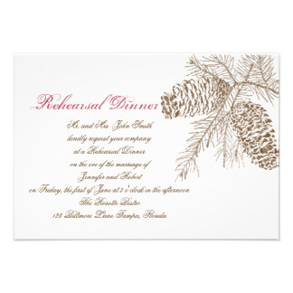 Pine Cone Nature Wedding Rehearsal Custom Announcements