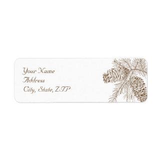 Pine Cone Nature Wedding Return Address Label