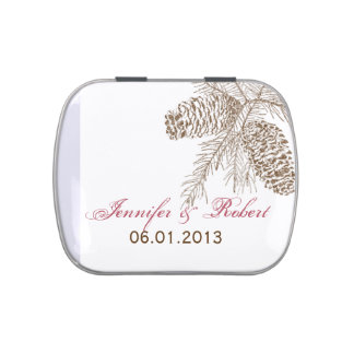 Pine Cone Nature Wedding Tins Jelly Belly Tin