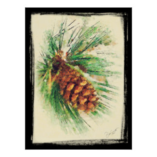 Pine Cone on a Snowy Branch Painting Poster