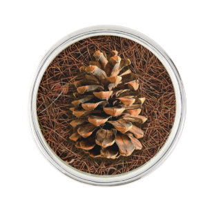 Pine Cone On Fallen Needles Lapel Pin