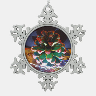 Pine Cone Pewter Snowflake Ornament