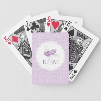 Pine cone purple wedding initial playing cards