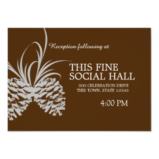 Pine Cone Silhouette Brown and Silver wedding Card