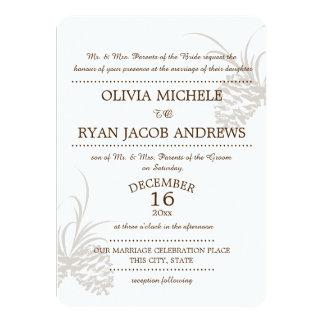 Pine Cone Silhouette Wedding Card