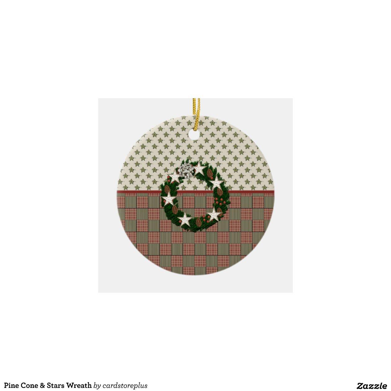 Pine cone stars wreath christmas tree ornaments zazzle for Pine cone christmas tree ornaments