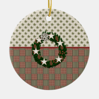 Pine Cone & Stars Wreath Double-Sided Ceramic Round Christmas Ornament