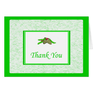 Pine Cone Thank You Card With Green Border