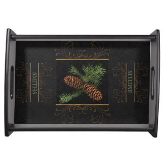 Pine Cone Watercolor Custom Name | Christmas Serving Tray