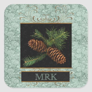 Pine Cone Watercolor Monogrammed | Christmas Square Sticker
