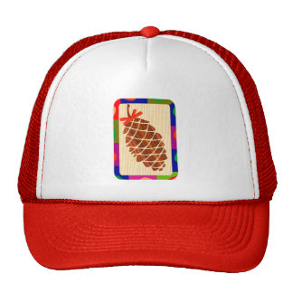 Pine cone with colorful border trucker hat