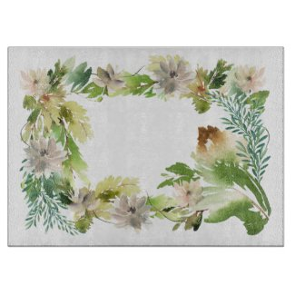 Pine Cone with Flowers Garland Cutting Board