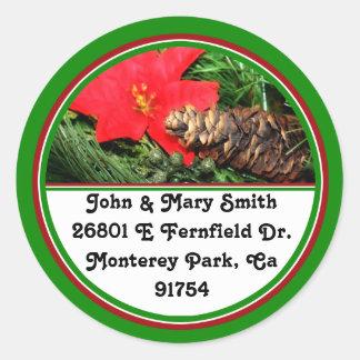 Pine Cone with Poinsettia Tree Ornament Classic Round Sticker