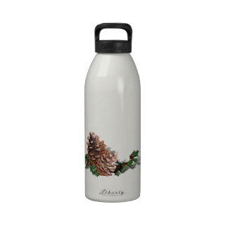 Pine Cones (Add Background Color & Text) Reusable Water Bottle