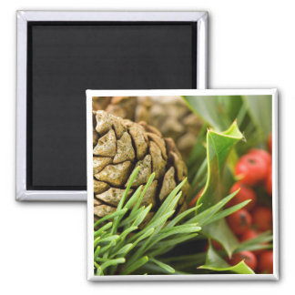 Pine cones and berries 2 inch square magnet