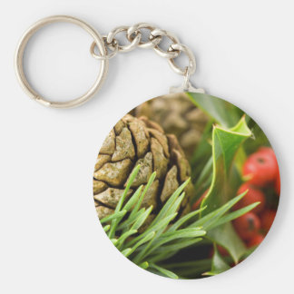 Pine cones and berries keychain