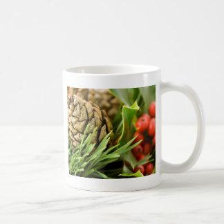 Pine cones and berries classic white coffee mug