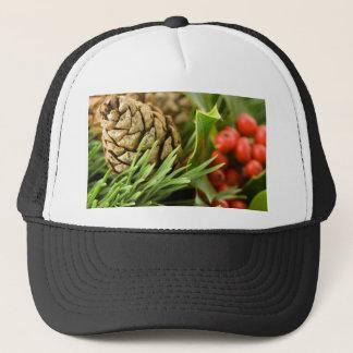 Pine cones and berries trucker hat