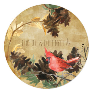 Pine Cones and Birds International Holiday Card