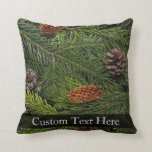 Pine Cones and Branches Throw Pillow