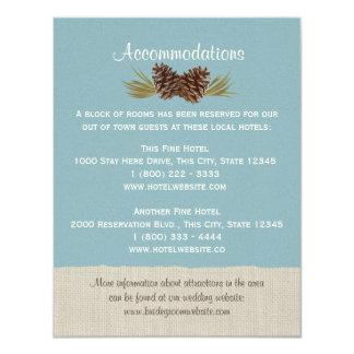Pine Cones and Burlap Info Card Blue Custom Announcements