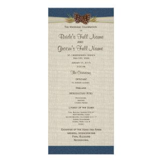 Pine Cones and Burlap Navy Blue Wedding Program Full Color Rack Card