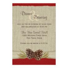 Pine Cones and Burlap Red Reception Custom Invite