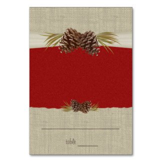 Pine Cones and Burlap Red Seating Card Table Cards