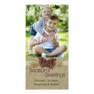 Pine Cones and Burlap Rustic Holiday Greeting Photo Card