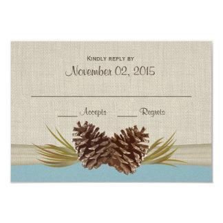 "Pine Cones and Burlap Winter Blue Response Card 3.5"" X 5"" Invitation Card"