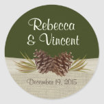 Pine Cones and Burlap Woodland Green Sticker