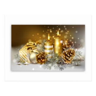 Pine Cones and Christmas Candles Postcard