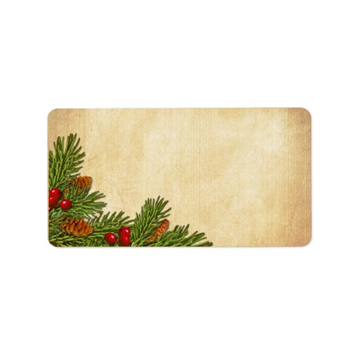 Pine Cones and Holly Berries Blank Address Label