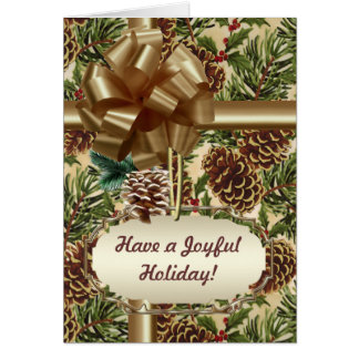Pine cones and Holly Card