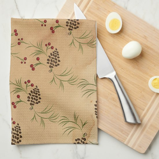 Pine Cones and Holly Kitchen Towels
