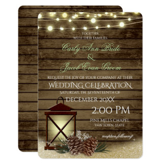 Pine Cones and Lantern Rustic Barnwood Lights Card